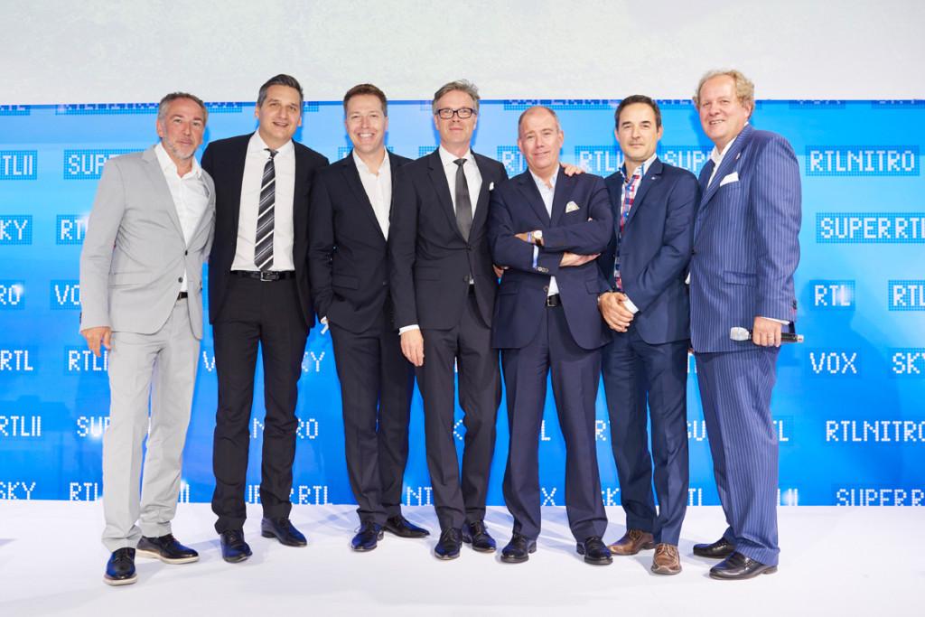 v.l.: Andreas Bartl (RTL II), Oliver Schablitzki RTLnitro), Bernd Reichart (Vox), Frank Hoffmann (RTL), Claude Schmit (Super RTL), Dieter Jaros (Sky Sport Austria), Walter Zinggl (IP Österreich)