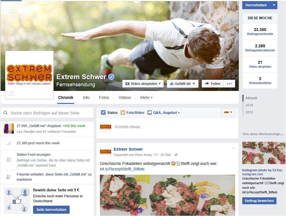 """Formatseite """"Extrem schwer"""" auf Facebook"""
