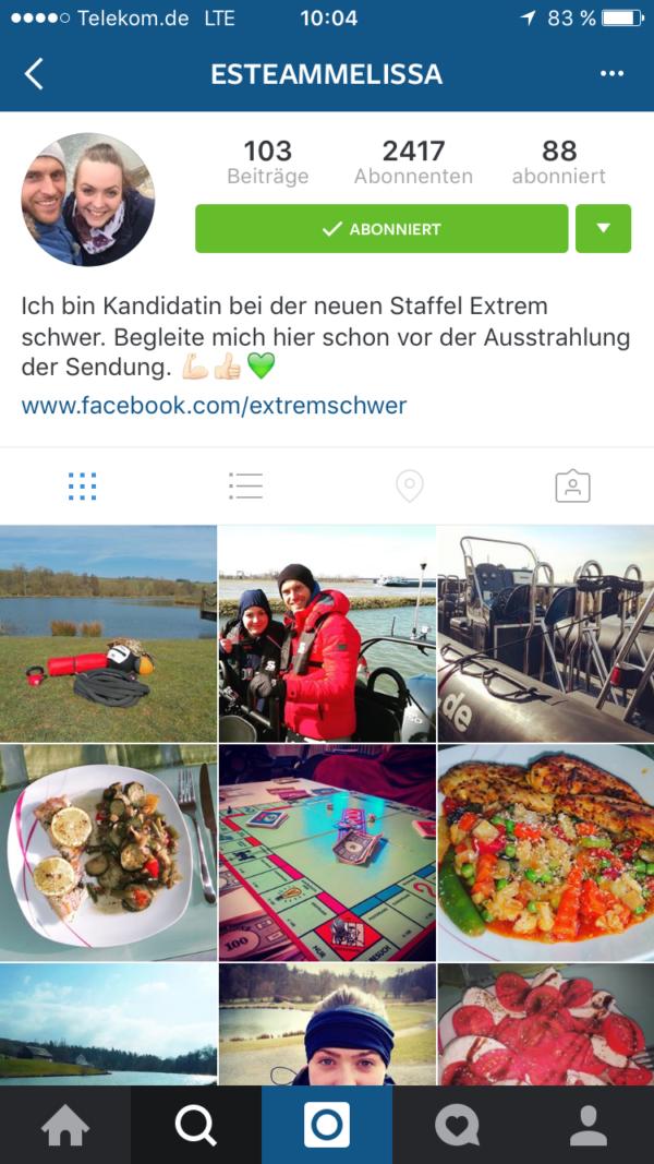 """Instagram-Profil von """"Extrem schwer""""-Kandidatin Melissa"""