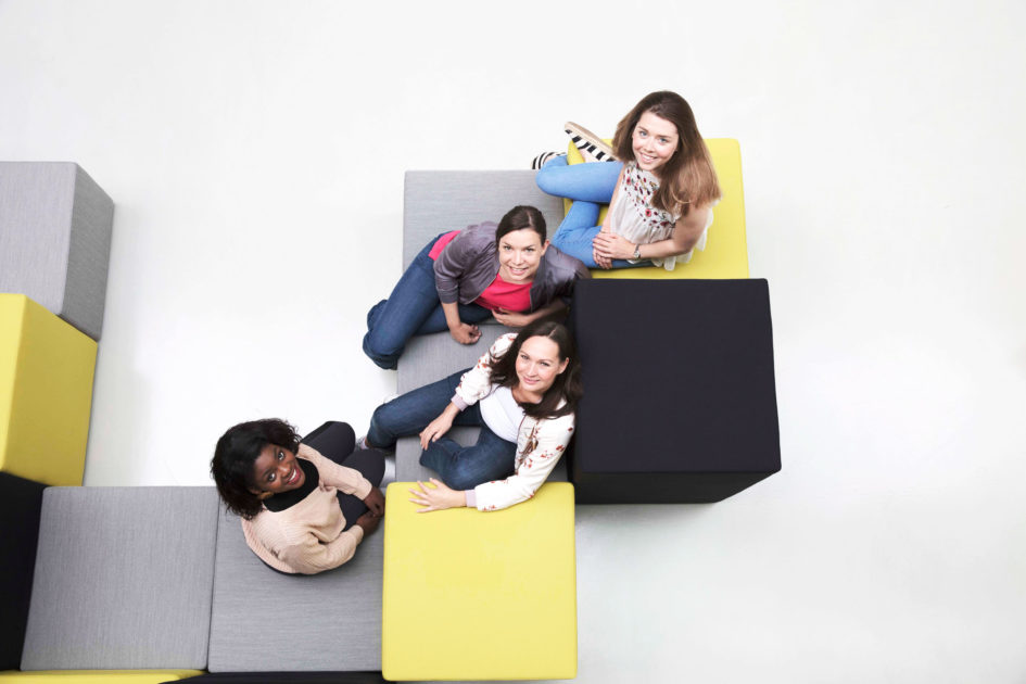 Das Instagram-Team (v.l.n.r.): Orryana Ackah, Vera Zotner, Johanna Leinemann, Laura Hessdörfer