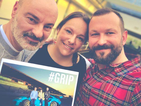 Das GRIP-Redaktionsteam bei RTLZWEI (v.l.): Günther Karrer, Nina Thurmeier, Frederik Karls