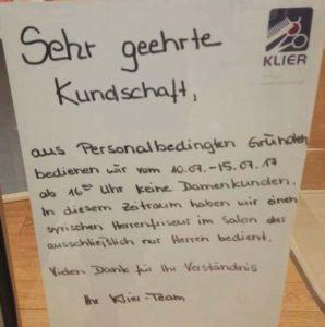 Der Aushang des Friseurgeschäfts in Zwickau